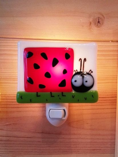 Nightlight, ladybug, fused glass, baby room decoration, nursery, shower gift, kid room, children on Etsy, $31.43