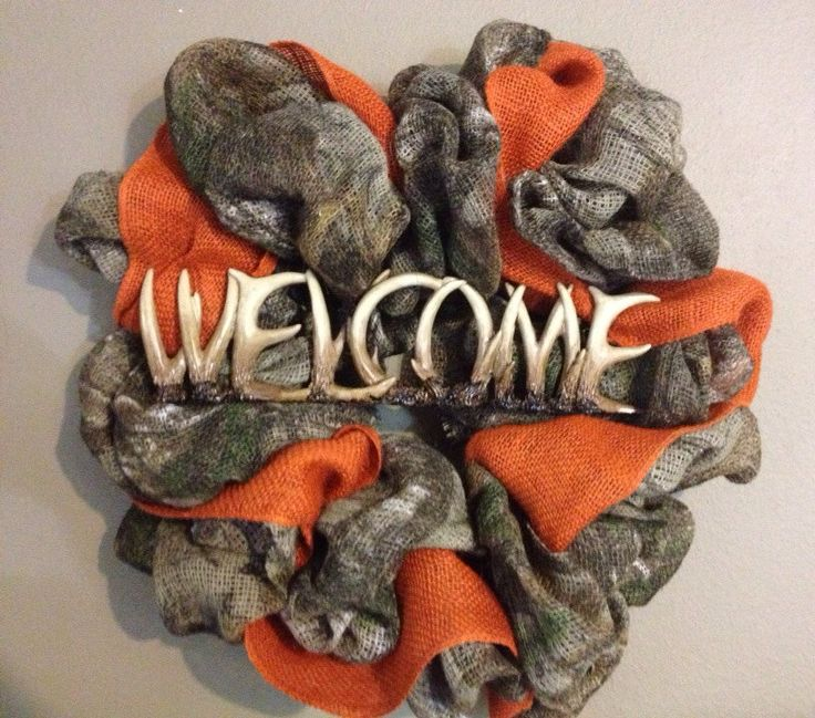 Camo and orange burlap wreath with deer horn by SewMeTheMoney, $55.00