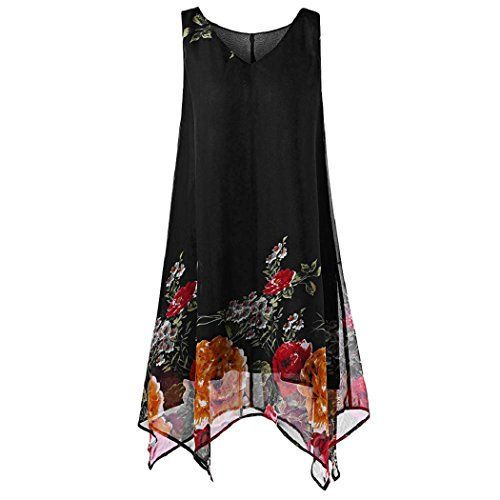 ShenPr Plus Size Women's Dress Chiffon Floral Print Sleeveless Double Layer Irregular Hem Mini Tank Tops Dress