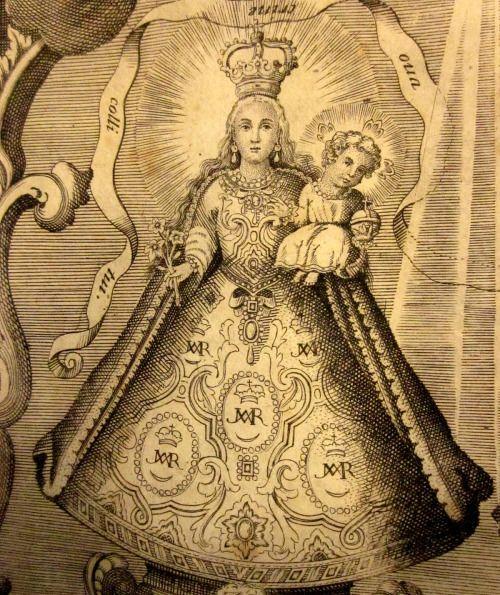 Virgen de la Rosa de Makati Detail of an engraving of Our Lady of the Rose of Makati in the Philippines.The print appears in 'Historia de la provincia de Philipinas de la Compañía de Jesús', published in 1749. Source