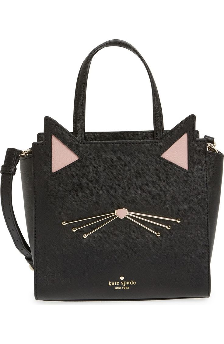 Adorable ears and whiskers lend a feline charm to this lavish Saffiano-leather satchel polished with gleaming goldtone accents by Kate Spade.