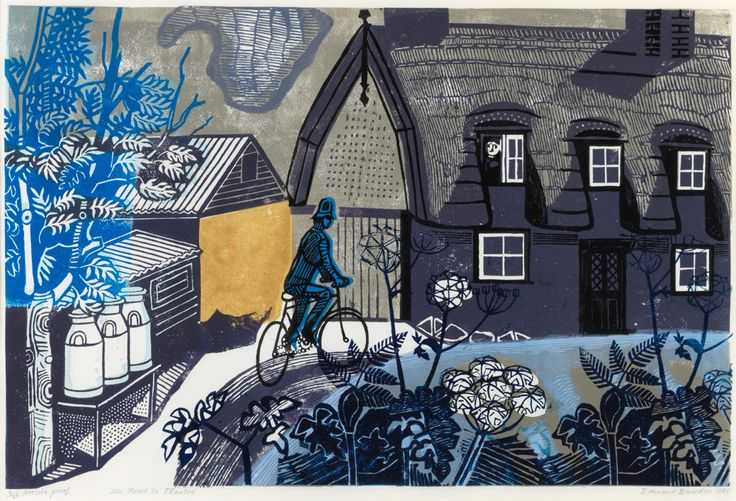 Edward Bawden's 'The Road to Thaxted' linocut - one of the prints selected by Angie Lewin for 'A Printmaker's Journey', the exhibition she has curated for Hampshire Cultural Trust. Opens Saturday 11th March 2017 - https://www.aprintmakersjourney.info