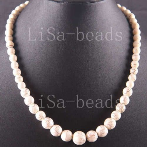 Free-Shipping-Natural-Stone-Round-Beads-White-Turquoise-Necklace-18-LE748