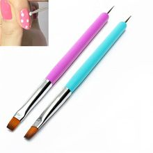 Mais barato 2-Ways Acrílico UV Gel Nails Art Pintura Caneta Pontilhando Escova Polonês 6FHF Forros Ferramentas Atacado alishoppbrasil