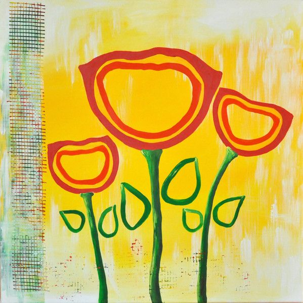 "Beata Maria Zdyb Picture on canvas ""Cheerful Tulips"""