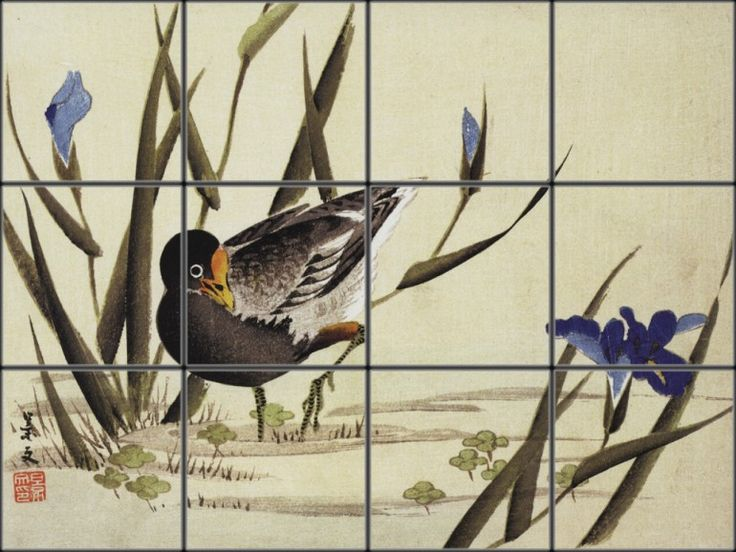 Asian Bird Tile Mural | Pacifica Tile Art Studio
