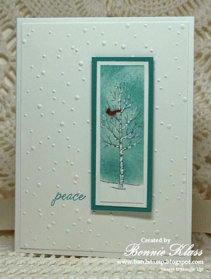 handmade winter card from Stamping with Klass ... luv the clean and simple lines ... cool teals and white ... tall and thin rectangle focal point with a red bird perched in a winter tree ...