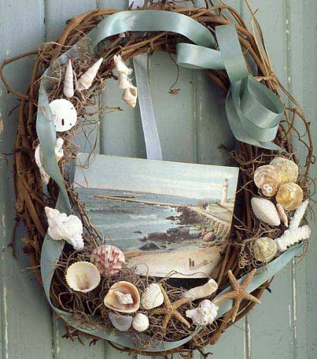 239 best images about coastal wall decor shop diy on for Seashell wreath craft ideas