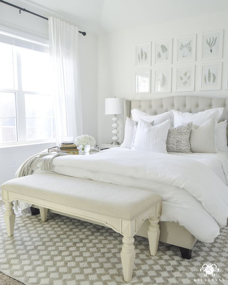 Kelley Nan: *Survey* Room Makeover Face-Off- White Guest Bedroom with Linen Bedding. bright and airy guest retreat!