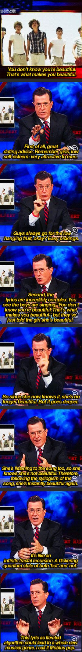 Stephen Colbert On The Complexity Of One Direction's Lyrics. This is one funny man.