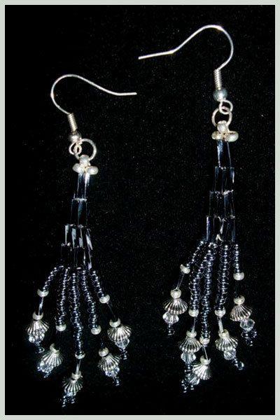 Pewter/Silver Woven Seed Bead Fan Earrings by SamMadeWithLove, $15.00