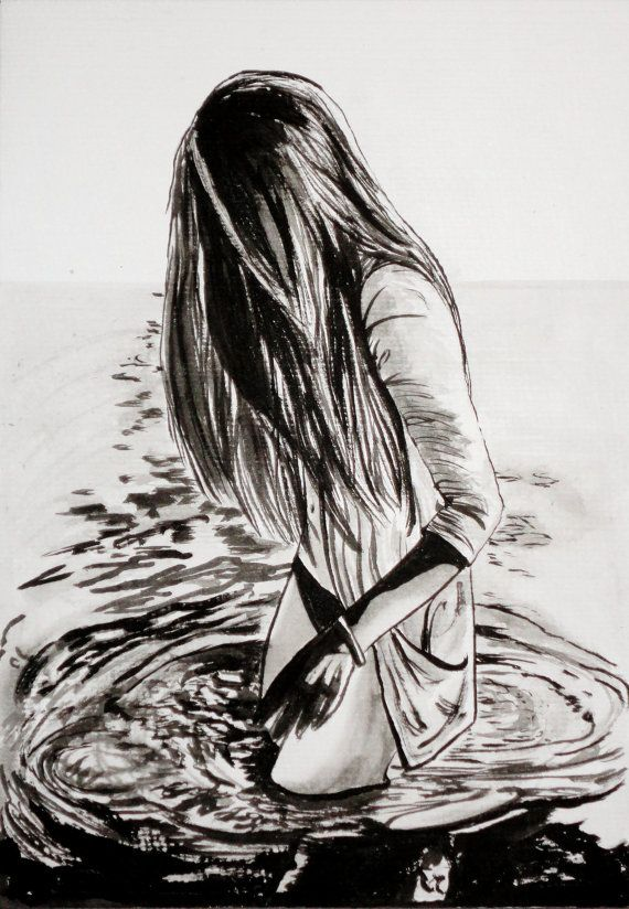 "Original Black & White Art Entitled: ""Girl at Sea"". £45.00, via Etsy."