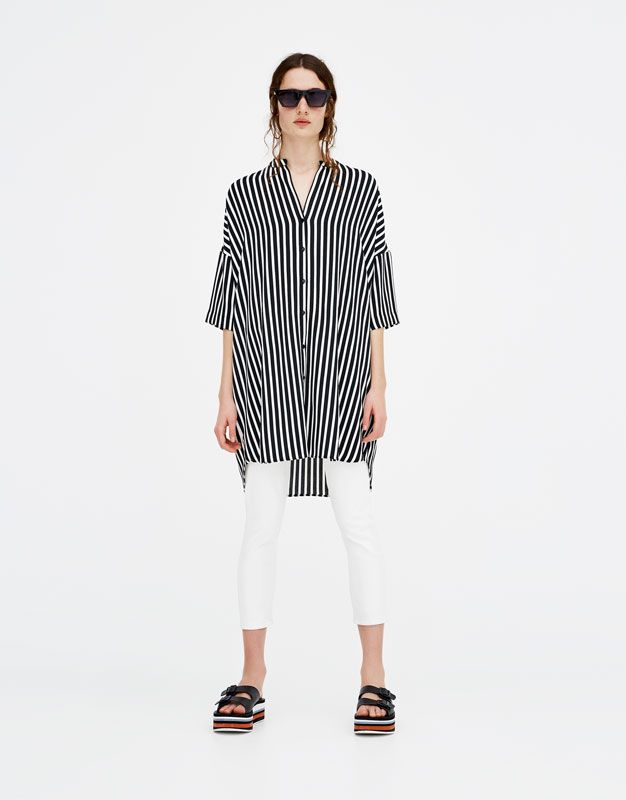 Shirt dress with stand-up collar - Blouses & shirts - Clothing - Woman - PULL&BEAR United Kingdom