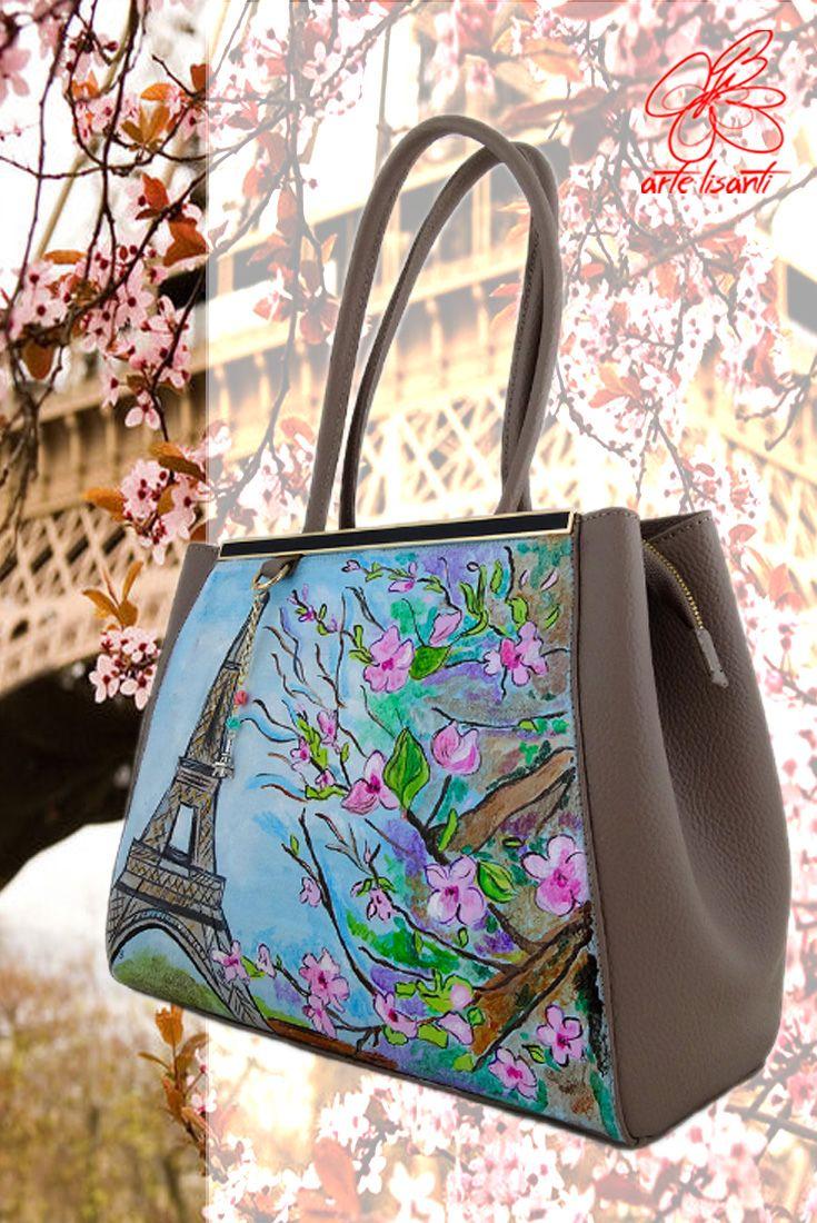 Borsa dipinta a mano - Parigi in fiore