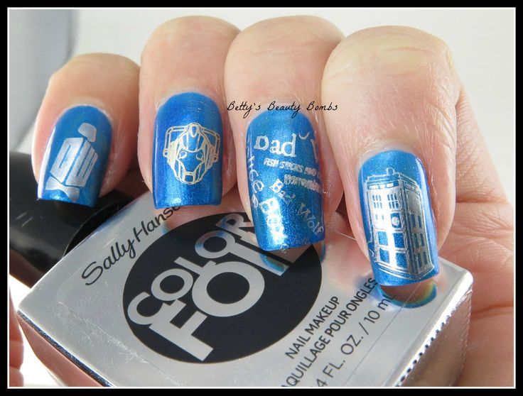 Doctor Who Nail Art using three different stamping plates.