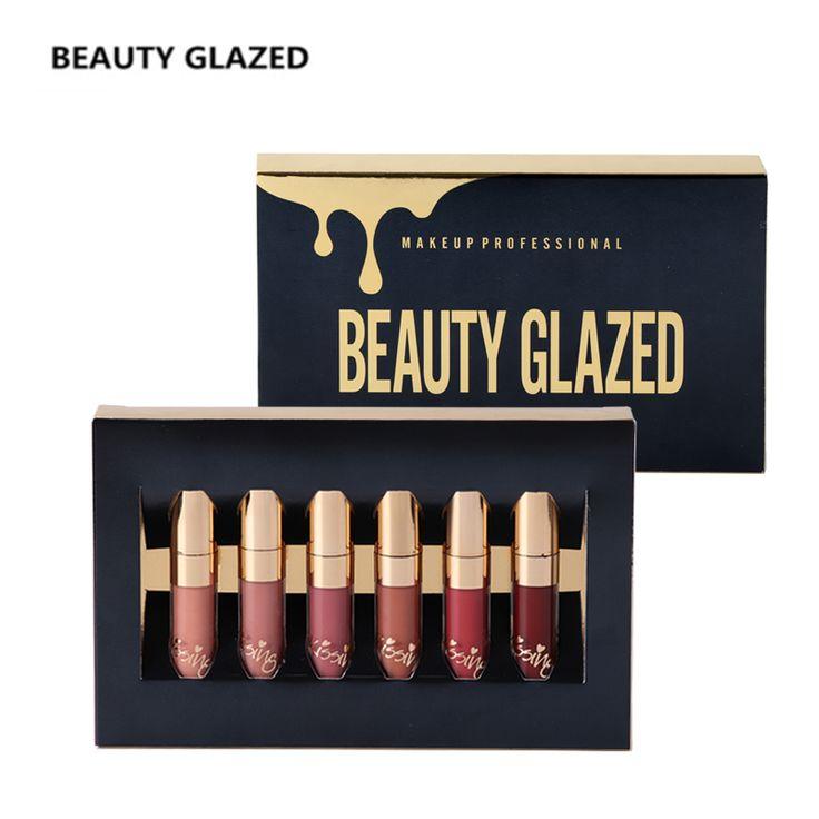 BEAUTY GLAZED Brand Lip Makeup Lipstick Lip Gloss Matte Easy To Wear Long-lasting Waterproof Lip Gloss Lip 6 Colors In Set