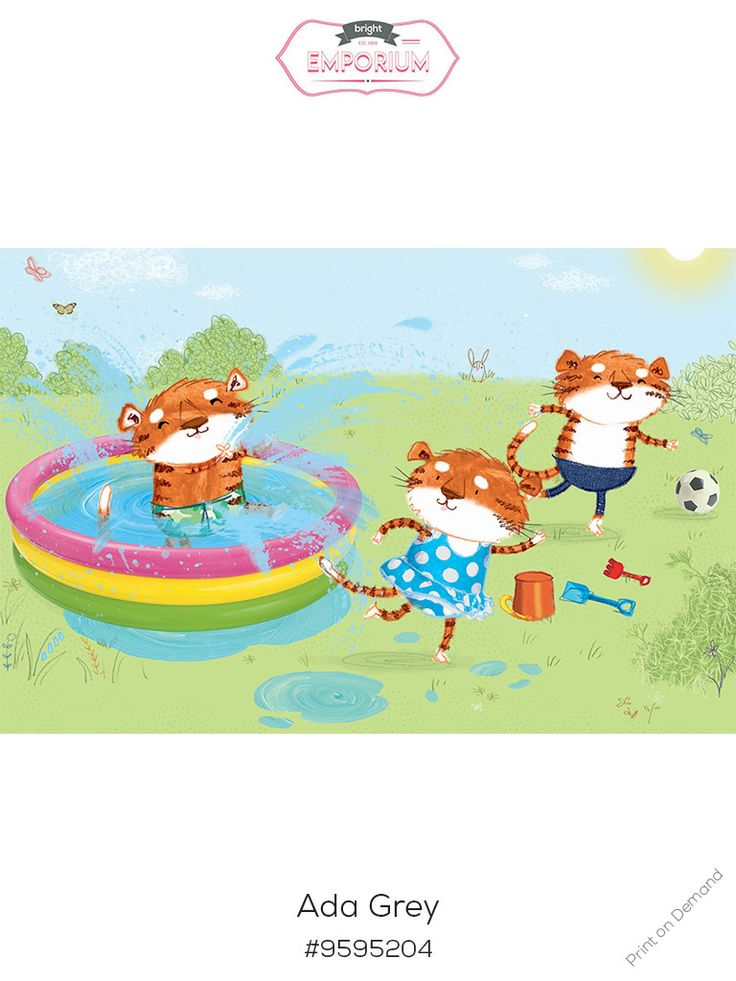 #tigers #paddlingpool #nursery #art by @adagrey and is part of our new #exhibition #love the #book #buy the #print For more info, have a look at out what's on page http://www.thebrightemporium.com/printsandproducts/print-on-demand/