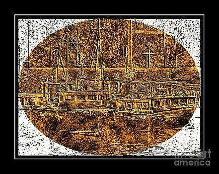 Barbara Griffin - Brass-type Etching - Oval - Boats Tied Up To the Wharf