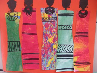 """Masai People of Kenya Collage - textured paper or fabrics for their """"shuka"""" (sheets wrapped around their bodies)"""