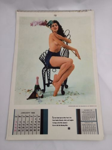 Vtg Playboy Playmate Wall Calendar 1959 2nd Issue with Jayne Mansfield
