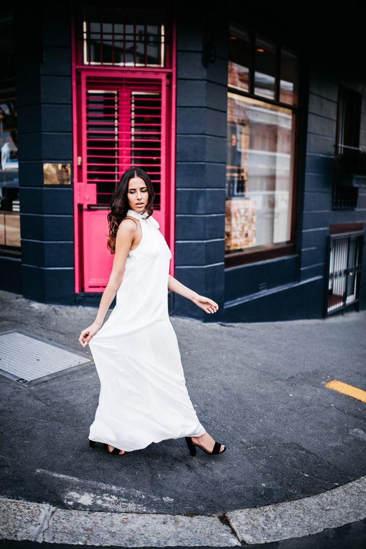 collection 2016 white maxi bow-tie chiffon dress