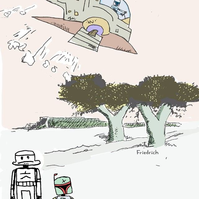 """pg. 7 Jango Fett takes the Stormtrooper aside and reminds him how much Boba Fett means to him. """"I love him as a clone son. While you're in charge, nothing better happen to Boba Fett or else you'll die a slow and painful and most horrendous death imaginable and possible.  The Stormtrooper gulps at this responsibility. He assures Jango Fett that nothing will happen to Boba Fett. He notices that Boba Fett is about to eat a poison berry from a tree. He knocks it from Boba Fett's hands before he…"""