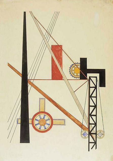By Laszlo Moholy-Nagy, 1920, Ramp, ink & watercolor.