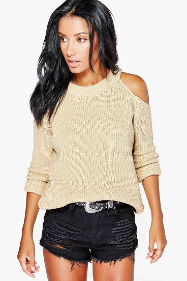 Lois Cold Shoulder Jumper by Boohoo. Nail new season knitwear in the jumpers and cardigans that are cosy yet coolGo back to nature with your knits this season and add animal motifs to your must-haves. When you're not wrapping up in woodland warmers, nod to chunky Nordic kni... #boohoo