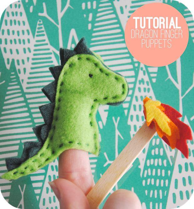 El dragón, marioneta de dedo en fieltro.