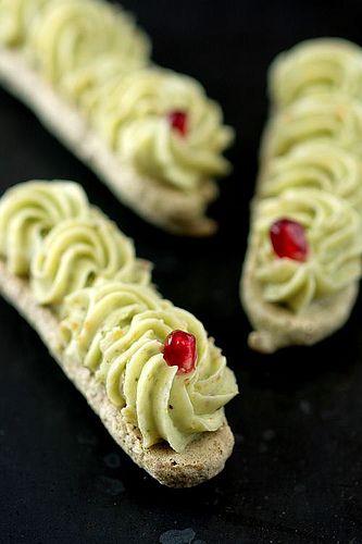 Pistachio Dacquoise & Pistachio Citrus Buttercream. Season notes: satsuma (Oct. to Dec.)