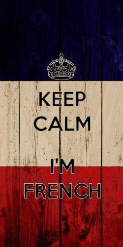 'Keep Calm I'm French' w/ France National Flag Wood Grain Design - Plywood Wood Print Poster Wall Art