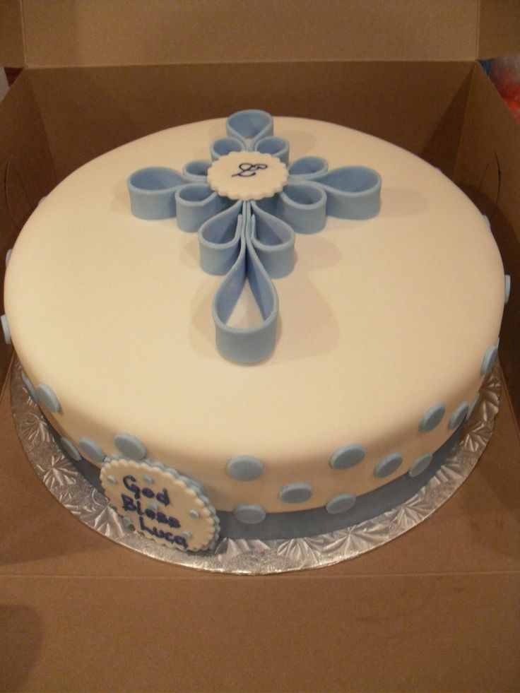 Boy Baptism Simple baptism cake where the cross is the focus. All fondant outside, red velvet inside. TFL!