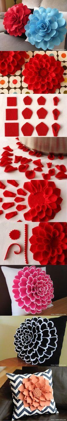 Flores de feltro em almofadas. Lindo. DIY Decorative Felt Flower Pillow | FabDiy
