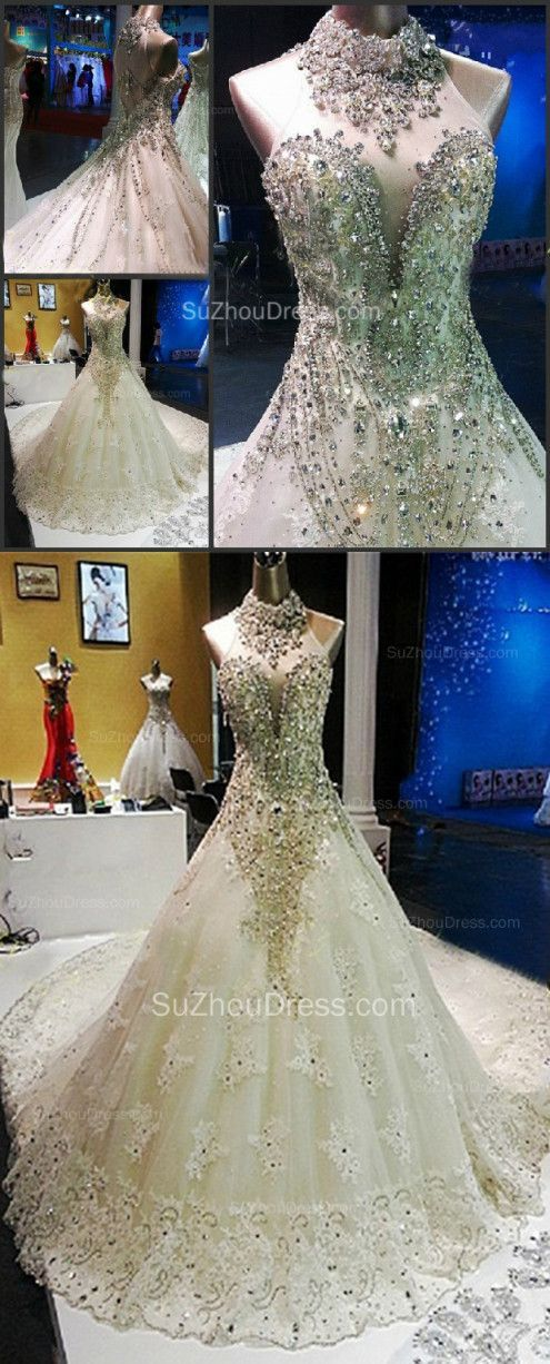 2015 Halter Wedding Gowns Crystal Sequined Beading Court Train Tulle Bridal Dresses.