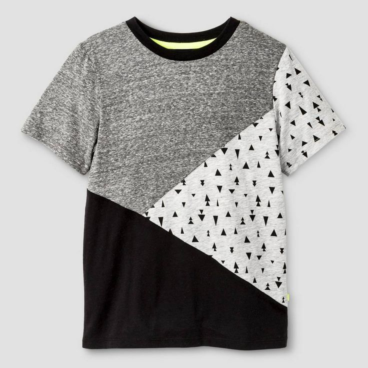 Kind is Cool Boys' Pieced Tee Grey and Black. Image 1 of 2.