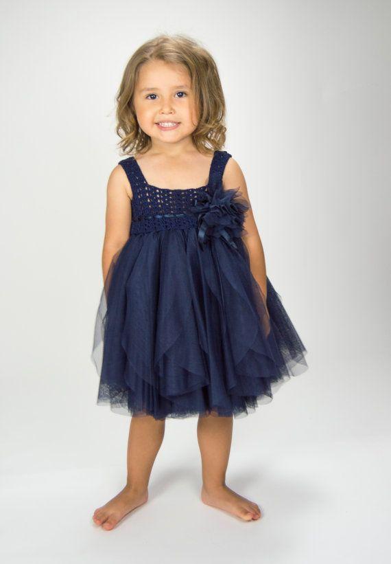 Navy Blue Empire Waist Baby Tulle Dress with por AylinkaShop