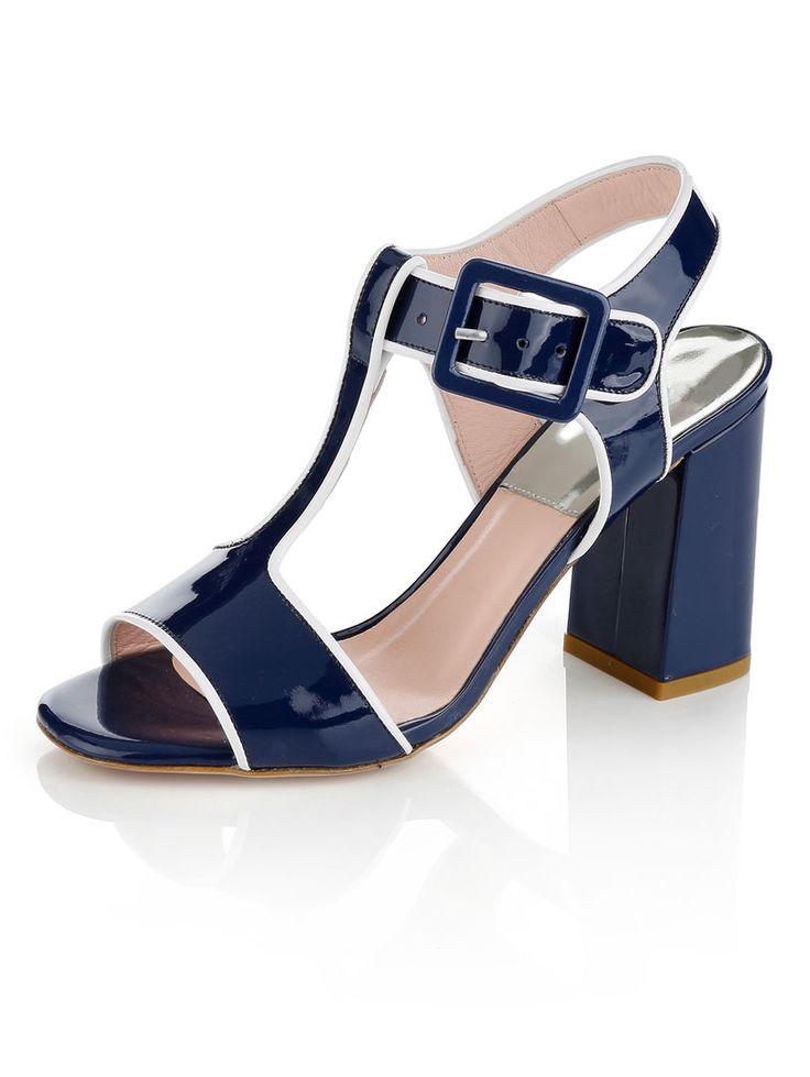Sandaaltje van lakleer marine wit alba moda