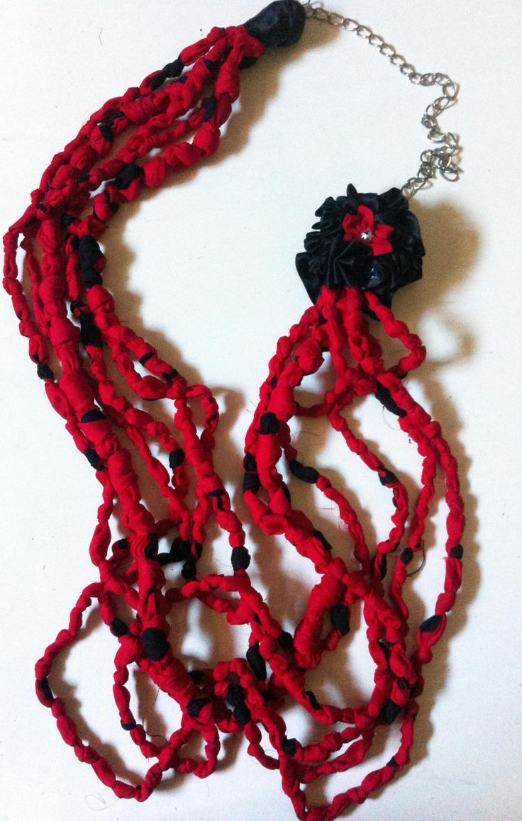 Fabric Necklace (type3)*knots knots 3-handmade-by giuvaDesign di GiuvaDesign su Etsy
