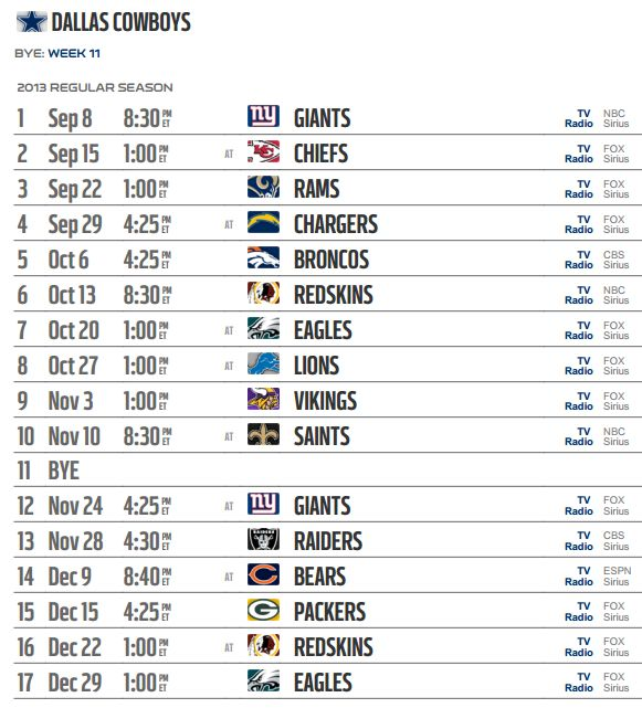 Dallas Cowboys 2012 Calendar | Dallas Cowboys 2013-2014 NFL Schedule - The Boys Are Back blog