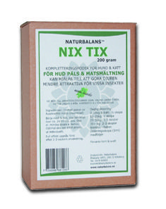 NIX TIX är ett fodertillskott för hund och katt med pulver av Neemblad. Alla Neembladets fantastiska egenskaper i ett koncentrerat pulver, för frisk hud och päls och för god matsmältning.