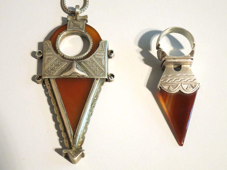543 best ethnic tuareg images on pinterest tribal jewelry ethnic for sale african tuareg carnelian silver tisek amulet ring and pendant necklace mozeypictures Images