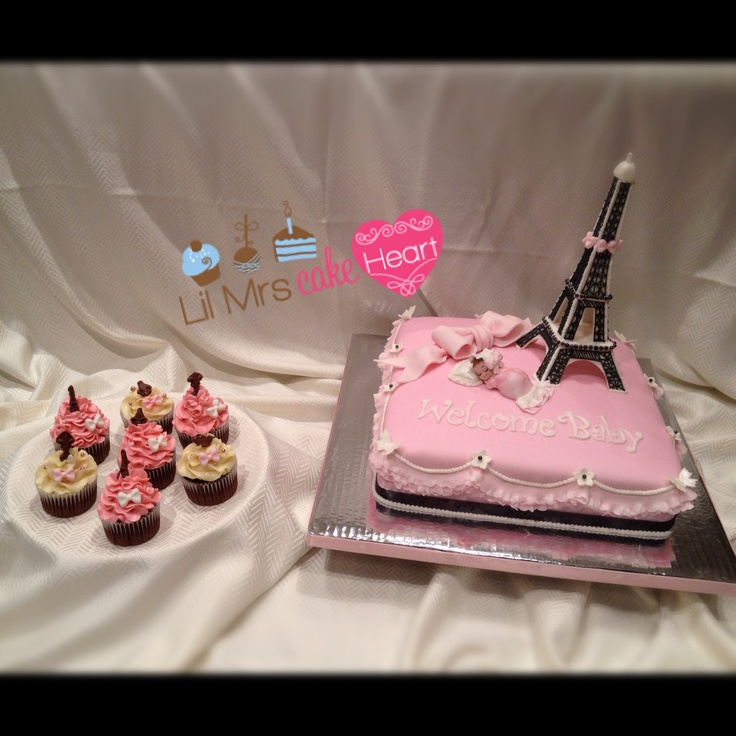 Parisian inspired Baby Shower cake and cupcakes by Lil Mrs Cake Heart!