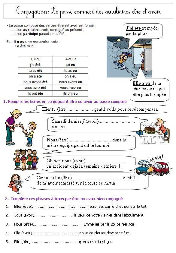 Leçons et exercices+liens pour travailler le passé composé en classe de CE1 CE2