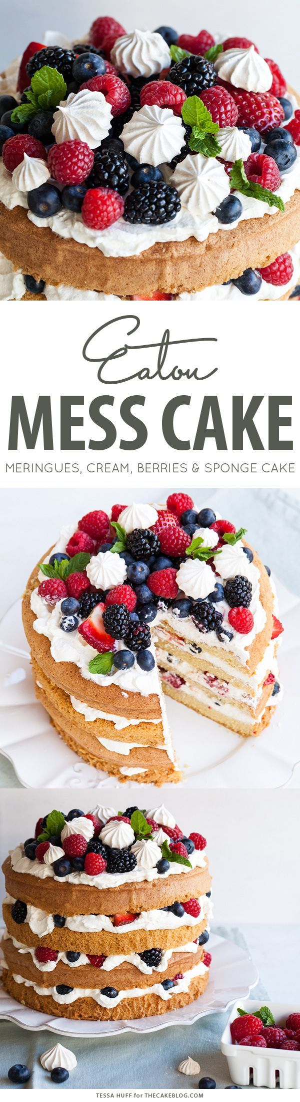 Eaton Mess Cake with crisp meringues, sweetened cream and fresh berries. A…