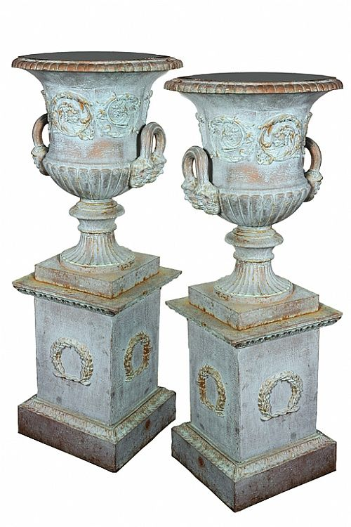 """niche fillers """"A pair of antique verdigris finish Grecian urns, later patinated"""" by Unknown (Lot Number 68)   Mossgreen Auctions (Art Auctions), Melbourne"""