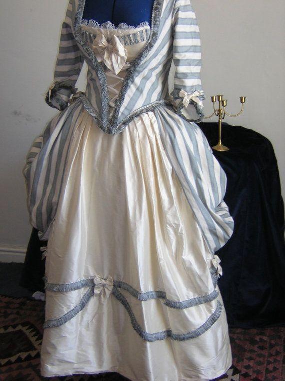 Georgian Polonaise Dress in Raw Silk Blue and by ClassicCostume, $500.00