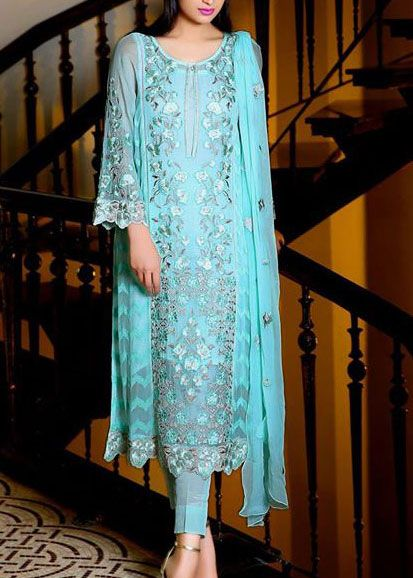 Buy Turquoise Embroidered Chiffon Dress by Embellish 2015.