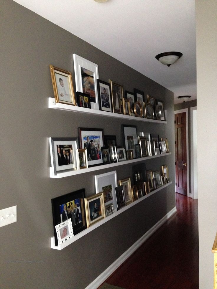 hallway with photo ledges, DIY picture ledges, ten dollar, $10 ledges, valspar seine, decorating a long hallway