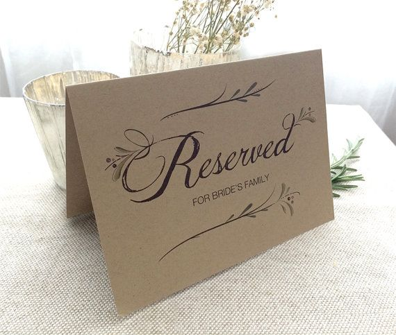 Reserved Wedding Table Sign  Customized by SideStreetDesigns