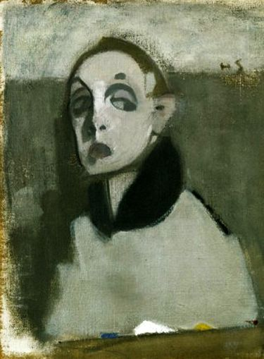 Helene Schjerfbeck.  Self-Portrait with Palette I.  Tempera and oil on canvas, 1937.